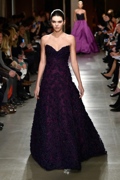 dress purple gown kendall jenner fashion week 2015 strapless bustier