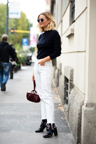 le fashion image blogger sunglasses sweater jeans shoes french girl cropped bootcut white jeans cropped jeans cropped bootcut jeans white jeans top black top long sleeves boots adenorah streetstyle fall outfits printed boots