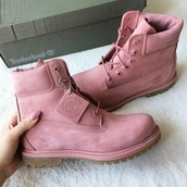 shoes,timberlands,pink,velvet,winter boots,ankle boots,baddies,edgy,indie