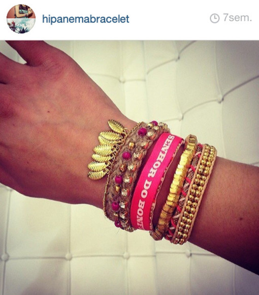 pink jewels jewels pink bracelets cute jewelry bracelets colourful colourful braclets cute hippie hippie chic boho gold gold bracelets pink bracelets gold jewelry gold jewels hipanema leaf bresilian brazil brazilian summer outfits sexy