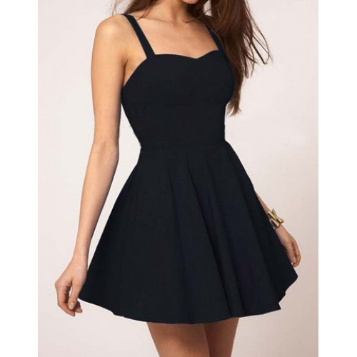 Solid color glamour sweetheart neck pleated backless skater dress for women black blue red (solid color glamour sweetheart neck pleated backless s) by www.irockbags.com