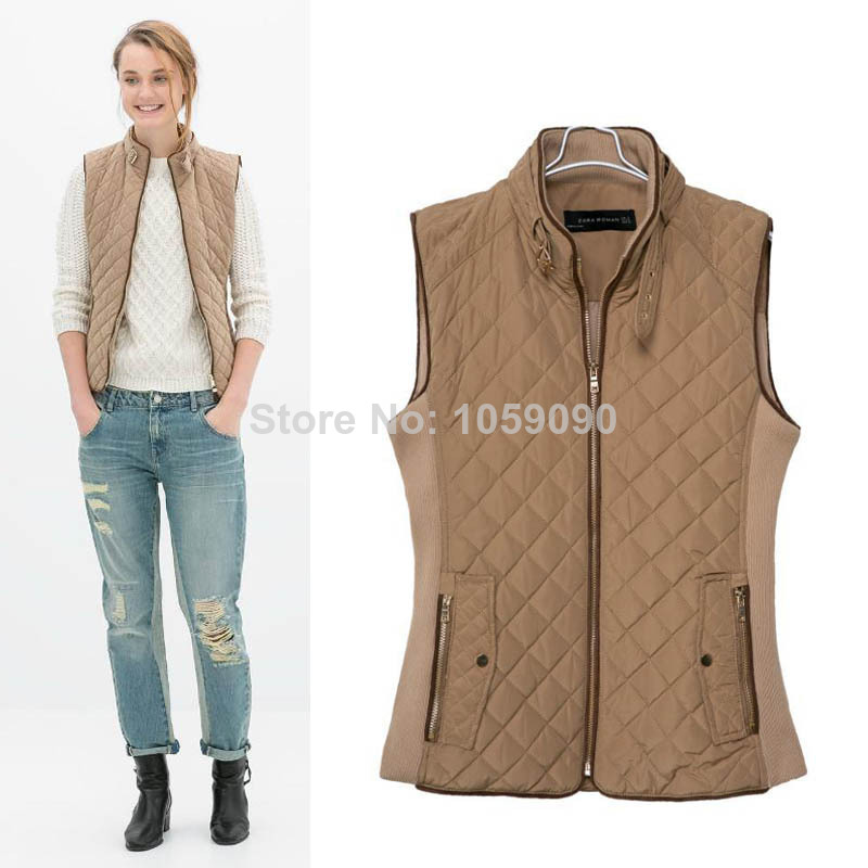 Aliexpress.com : Buy 2014 Winter ZA New Design Brown Quilted Stitching Cotton Vest Female Slim Sleeveless Jacket Front Zip with Double Pocket from Reliable front brake caliper bolt suppliers on Vogue Official Online Shop