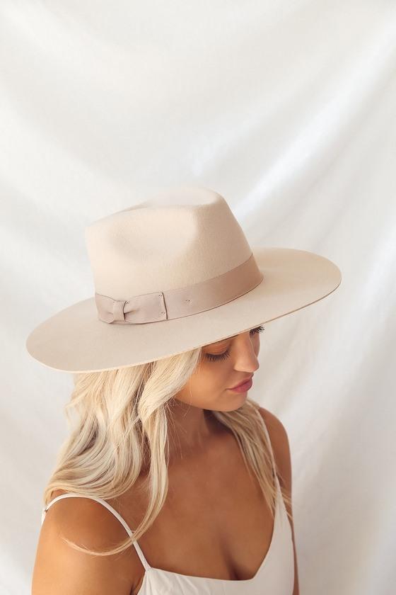 Lila Beige Wool Wide-Brim Fedora Hat