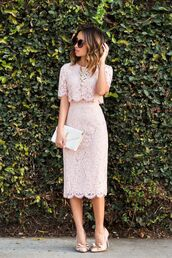 dress,nude lace midi dress,white purse,nude heels,blogger,round sunglasses,nude,nude dress,two piece dress set,short sleeve,short sleeve dress,pink,pink dress,baby pink,lace,lace dress,bodycon,bodycon dress,classy dress,elegant dress,cocktail dress,cute dress,girly dress,date outfit,birthday dress,clubwear,club dress,graduation dress,homecoming,homecoming dress,wedding clothes,wedding guest,engagement party dress,romantic dress,romantic summer dress,prom,prom dress,short prom dress,formal,formal dress,formal event outfit,summer holidays,holiday dress