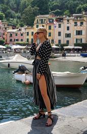 top,long sleeves,maxi skirt,stripes,tumblr,polka dots,crop tops,skirt,slit skirt,striped skirt,sandals,mid heel sandals,sunglasses,shoes