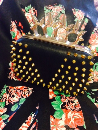 bag black punk spike rivet clutch