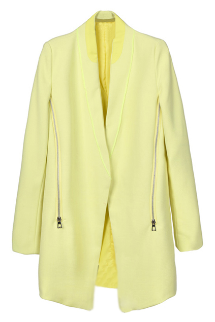 ROMWE | Yellow Zippered V-neck Blazer, The Latest Street Fashion