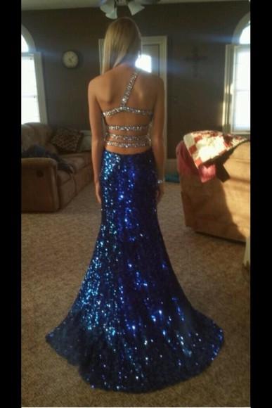 sequin dress prom dress navy dress blue dress