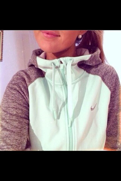 nike jacket sweatshirt nike sportswear grey sweatshirt sportswear sweater fitness fitspo fitness clothing nike mint green and gray zip up blue grey nike mint hoodie