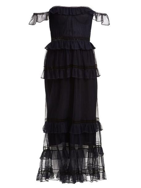 Jonathan Simkhai - Strapless Ruffled Tulle Dress - Womens - Navy