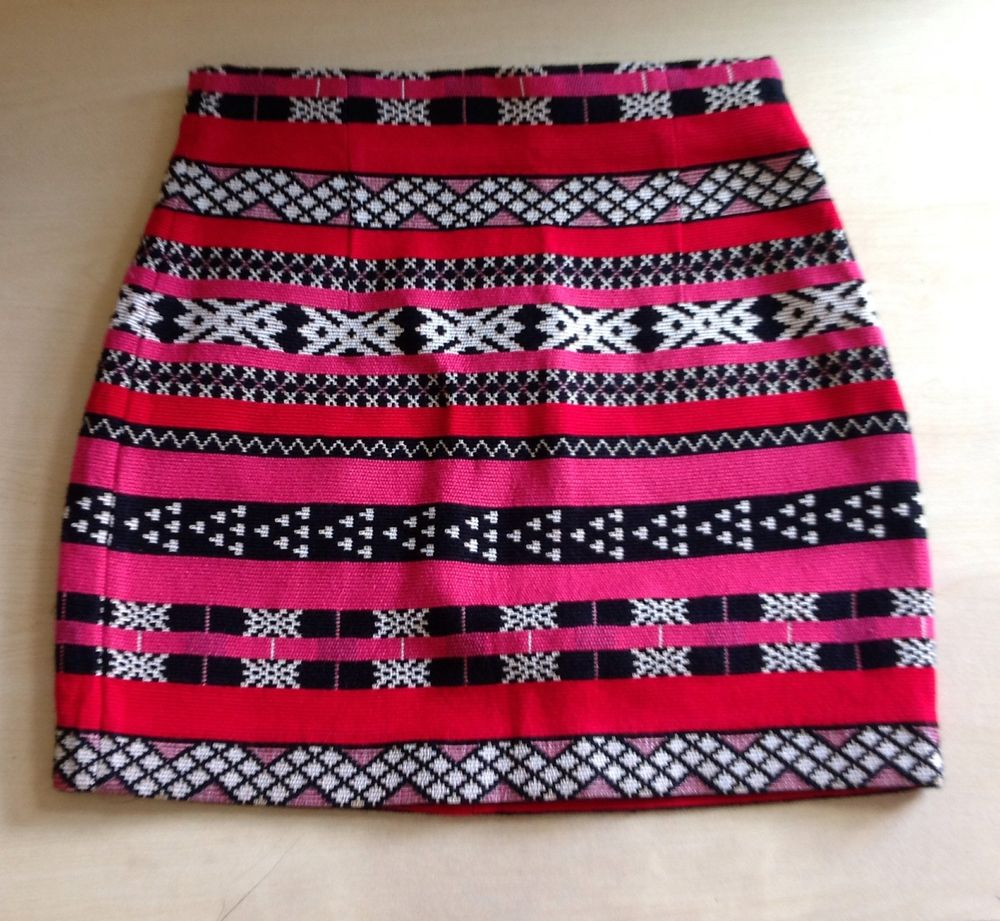 ZARA WOMAN (Sz SMALL) JACQUARD ETHNIC TRIBAL MINI NAVAJO SKIRT | eBay