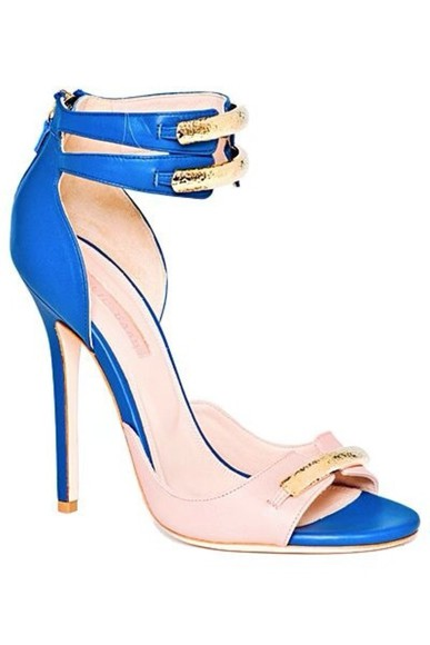 shoes sandal ellie saab blue and cream
