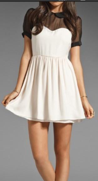peter pan collar white dress black sleeves