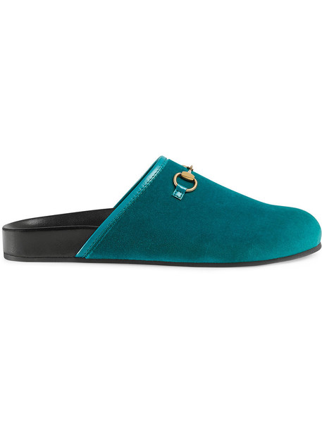 gucci metal women leather blue velvet shoes