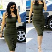 dress,my revolving closet,khaki,olive green,bandeau,midi dress,bodycon dress,kylie jenner,green,sundress