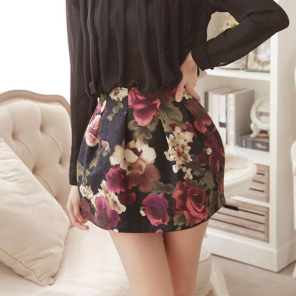 skirt floral cute short flare flowers mix print