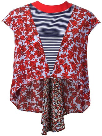top floral top women floral silk red