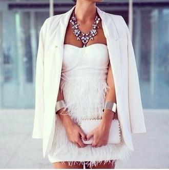 white dress white dress fringes bandeau bustier prom party dress short summer dress bodycon dress coat