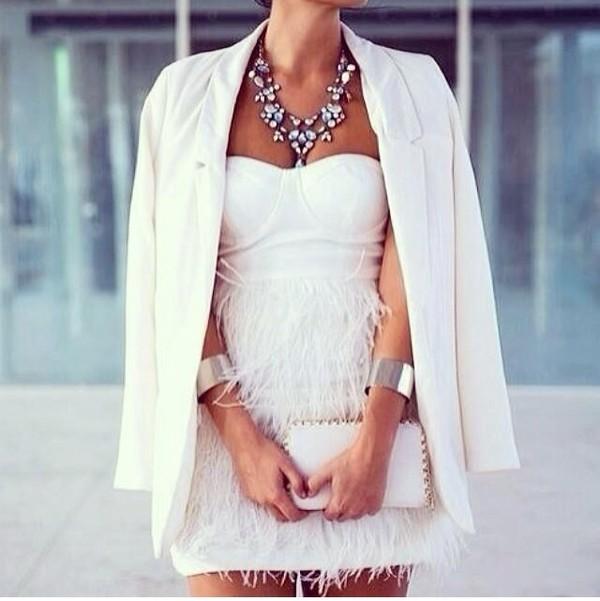 dress white white dress fringes bandeau bustier prom party dress short summer dress bodycon coat