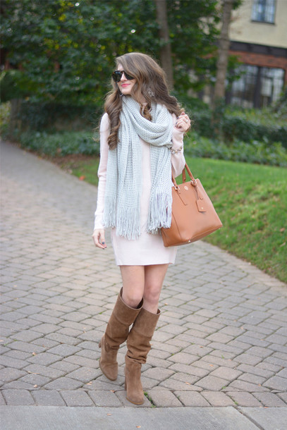 southern curls and pearls blogger scarf white dress long sleeve dress white knit dress