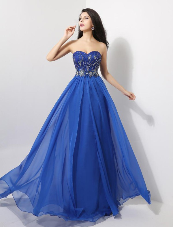 blue dress strapless dress beaded dress chiffon dress sweetheart dress 2014 dress 2015 dress prom dress long dress dress