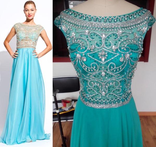 prom dress scoop dress chiffon dress blue dress evening dress crystal dress 2014 new fashion dress