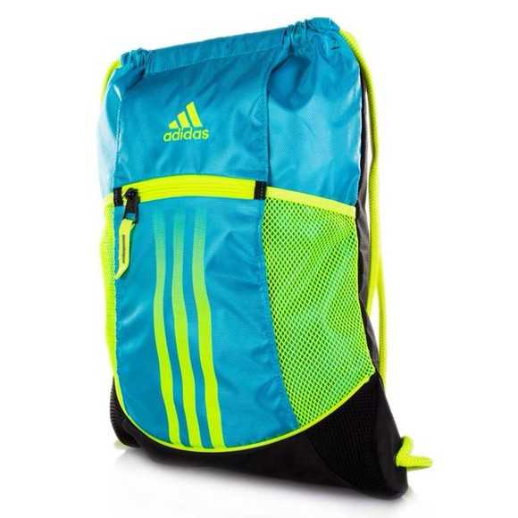 adidas bag light blue yellow sackpack