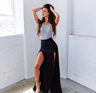 skirt sophia miacova maxi skirt slit maxi skirt black style fashion