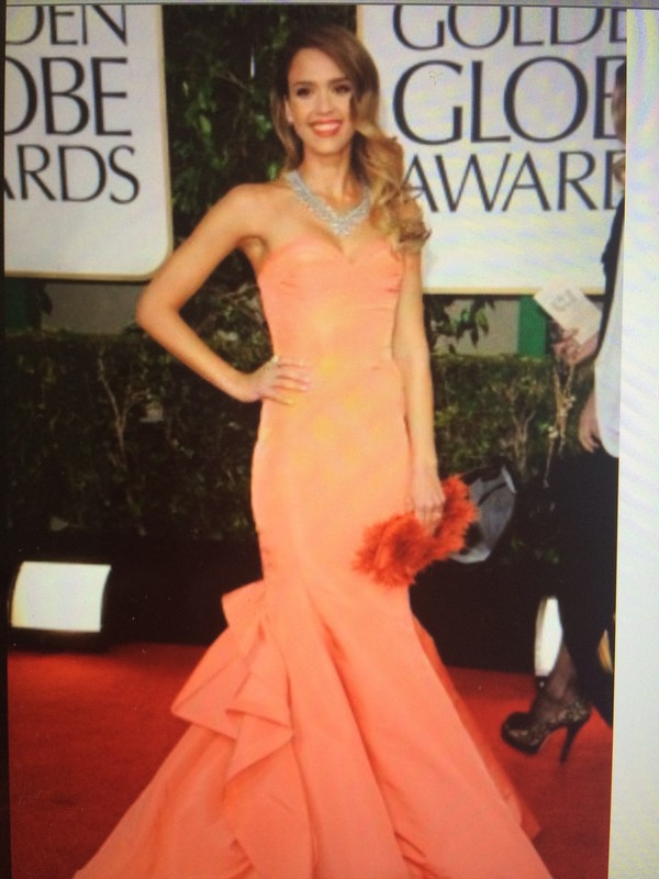 dress coral dress gown jessica alba golden globes