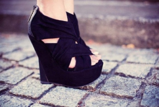 shoes clothes high heels wedges little black dress black wedges black shoes high heels peep toes black high heels