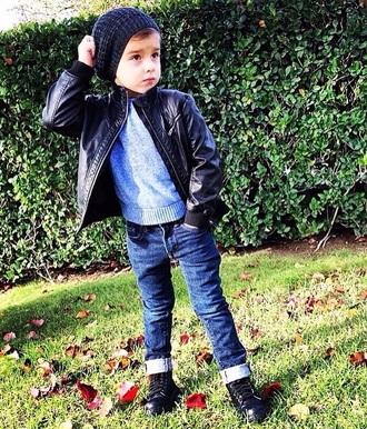 jacket leather beanie hat leather jacket jeans sweater sneakers swag style kids fashion fashion fall sweater fall jacket fall outfits