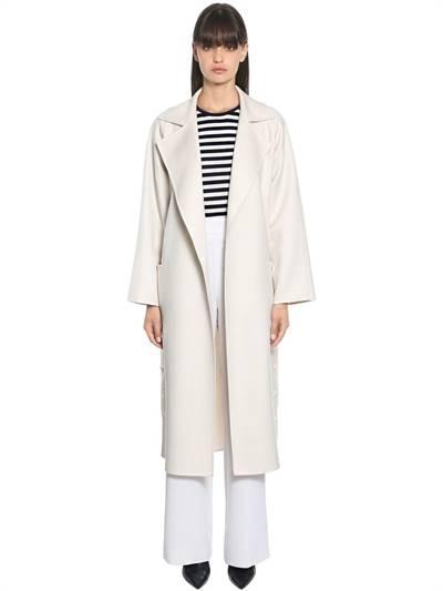 MAX MARA, Double wool & cashmere coat, White, Luisaviaroma