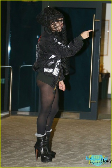 lady gaga jacket shoes boots black