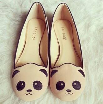 shoes beige shoes flats ballet flats panda pandas printed beige dress