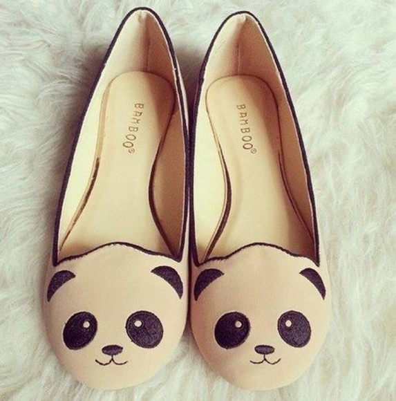 shoes beige shoes beige dress flats ballet flats panda pandas printed