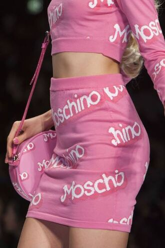 top moschino pink pink top skirt pink skirt model