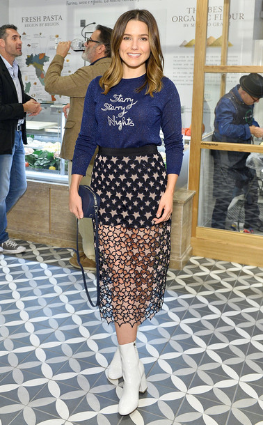 skirt sheer see through ankle boots sophia bush midi skirt sweater sweatshirt stars