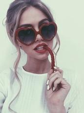 sunglasses,heart sunglasses,tumblr,girl,grunge,heart,red,love