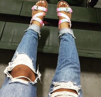 shoes sandals style snake skin pink rainbow strappy strappy sandals