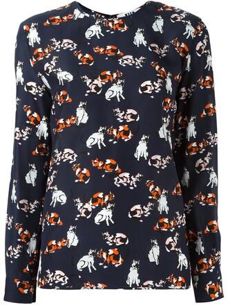 t-shirt shirt women cotton print blue silk top