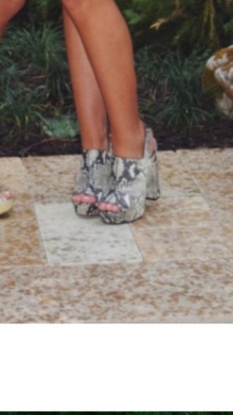 shoes chunky heels python