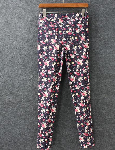 printed pants flowers pants roses