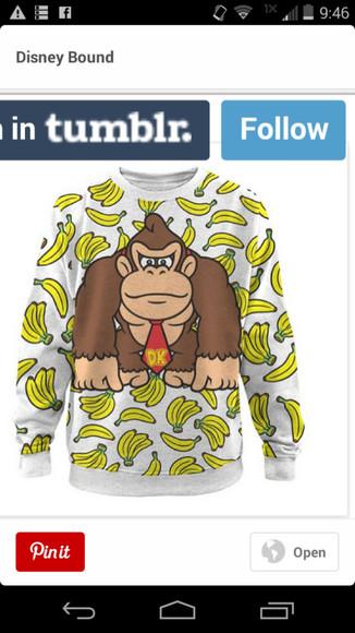 sweater donkey kong video game bananas