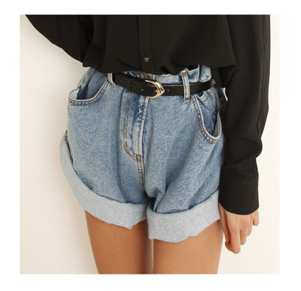 Shorts: baggy, high waisted shorts, folded, vintage, hippie ...