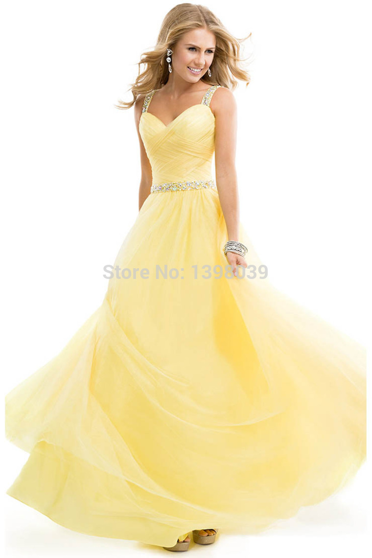 Aliexpress.com : Buy Custom Spaghetti Straps Yellow Tulle Long Prom Dresses 2014 Crystal Detailed Crossed Back Party Dress Gowns for Girls from Reliable dress celeb suppliers on Silence Angle