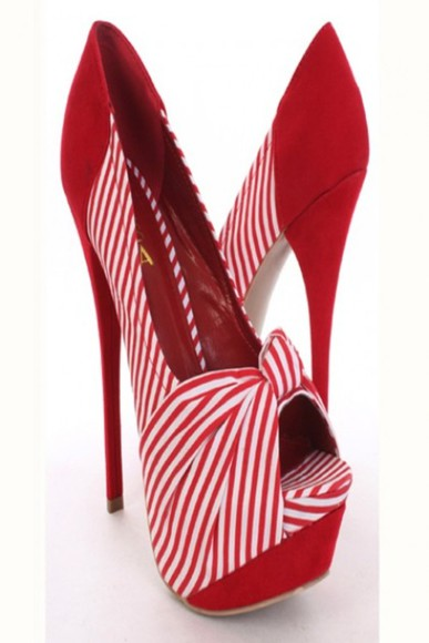 high heels shoes peep toe red stripe knotted