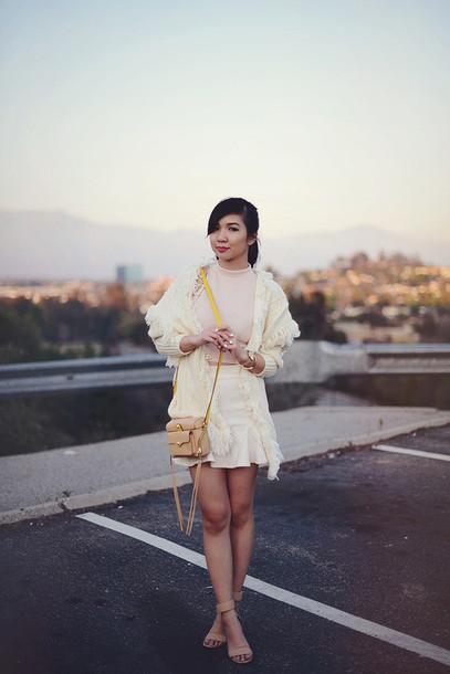 fresh fizzle blogger skirt knitted cardigan shoulder bag cardigan top shoes bag jewels