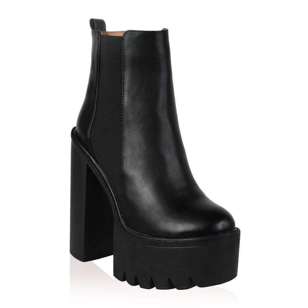 Nicole cleated sole platform heel boots