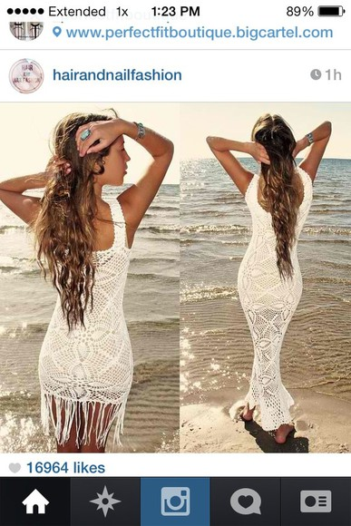 dress cream dress lace maxi dress crochet fringe beach summer sexy beautiful