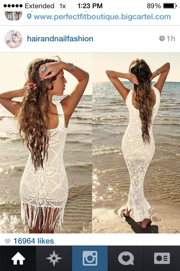 dress maxi dress lace crochet fringes beach summer sexy beautiful cream dress